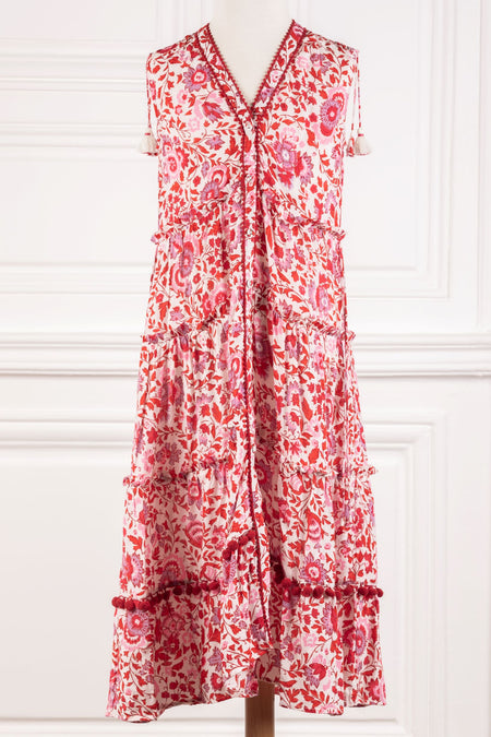 Long Skirt Ariel Ruffled - White Pink Celery