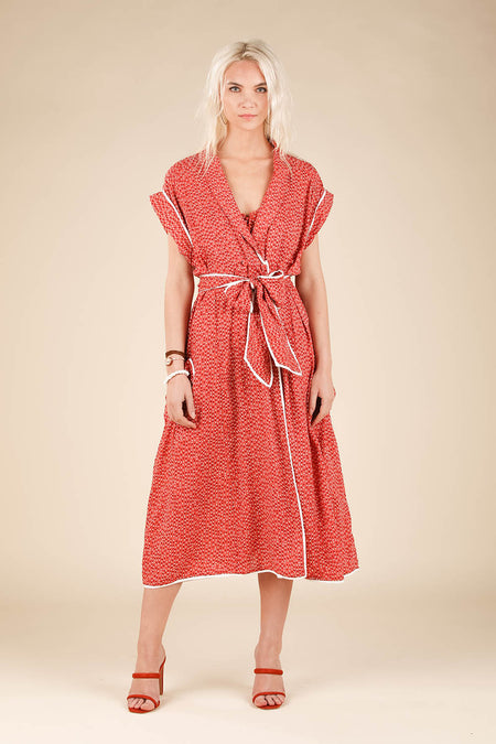 Long Dress Ilona Flounce - Pink Foulard