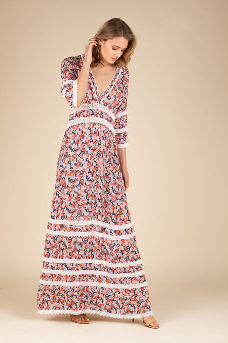 Long Dress Mya Ruffled - White Red Watercolor