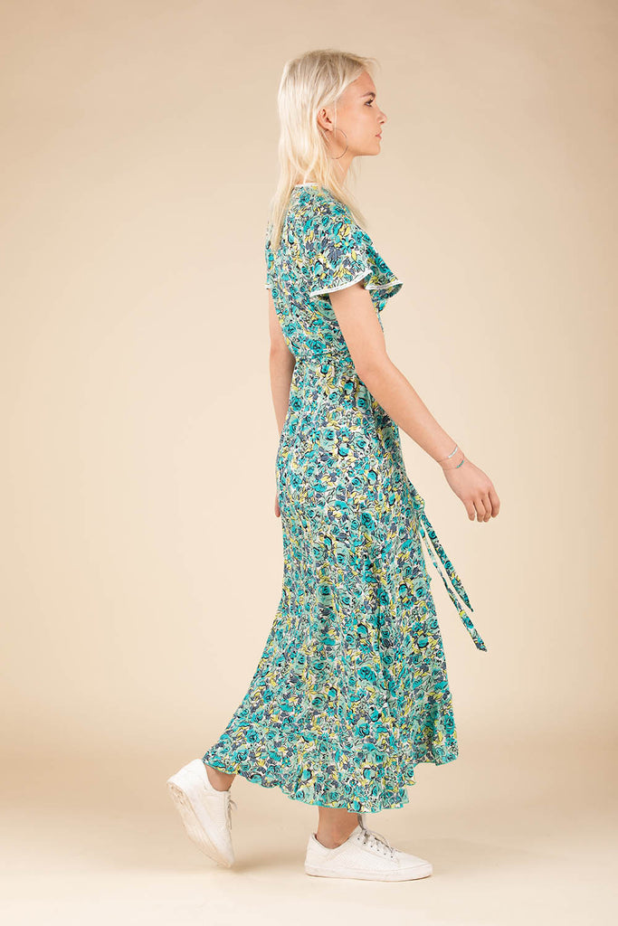 Long Dress Joe Ruffled - Green Rose