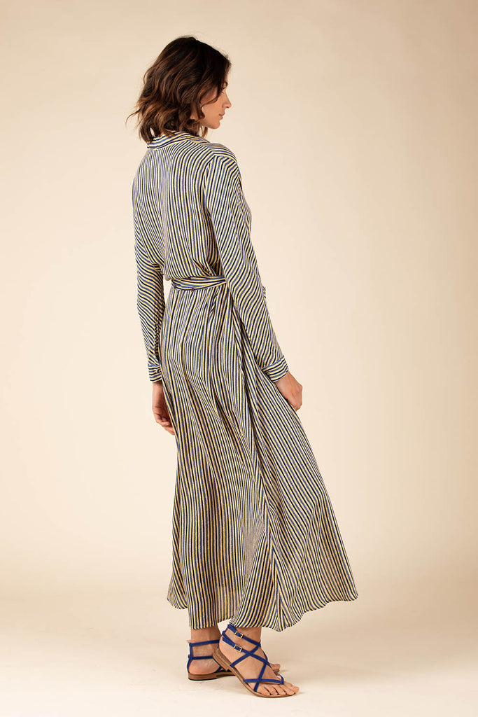 Long Dress Tunic Irma Buttoned - Blue Stripe