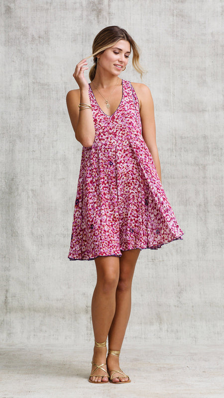 DRESS BELINE RUFFLED - PINK AZALEA