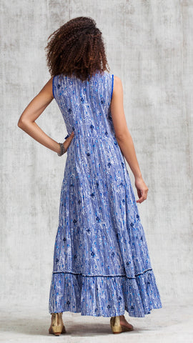 LONG DRESS CLARA SLEEVELESS - BLUE FANCIFUL
