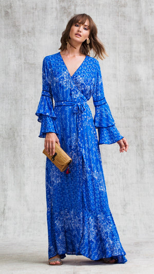 LONG DRESS ELISE LAYERED - BLUE BUTTERFLY BATIK ROMBO