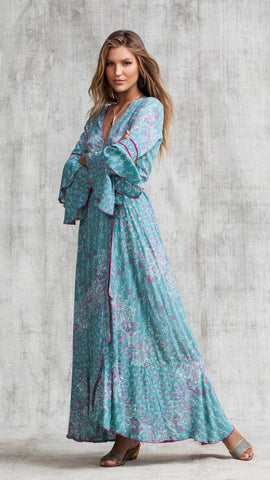 LONG DRESS ELISE LAYERED - GREEN BUTTERFLY BATIK ROMBO