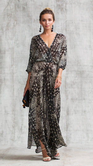 LONG DRESS ILONA FLOUNCE - BLACK BUTTERFLY BATIK VERTICAL