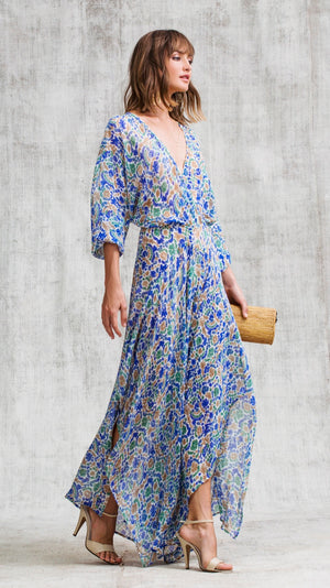 LONG DRESS ILONA FLOUNCE - BLUE YVONNE