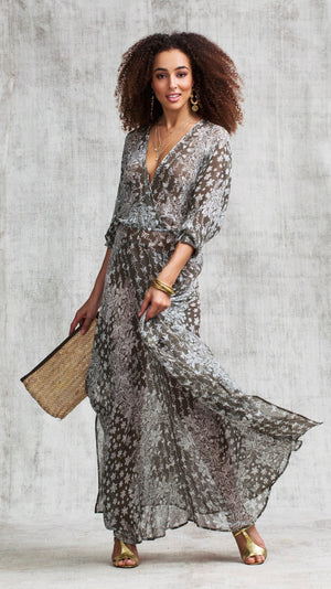 LONG DRESS ILONA FLOUNCE - GREY BUTTERFLY BATIK VERTICAL