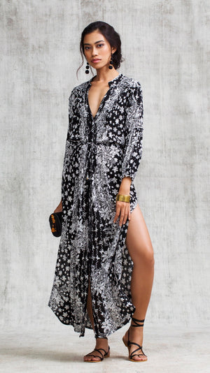 LONG DRESS TUNIC ILONA LONG SLEEVE - BLACK BUTTERFLY BATIK VERTICAL