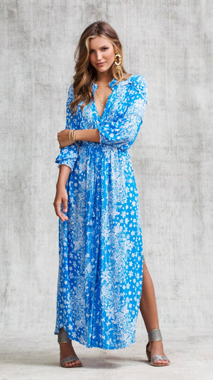 LONG DRESS TUNIC ILONA LONG SLEEVE - BLUE BUTTERFLY BATIK VERTICAL