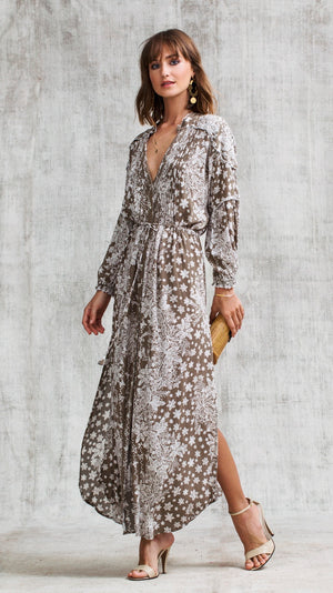 LONG DRESS TUNIC ILONA LONG SLEEVE - GREY BUTTERFLY BATIK VERTICAL