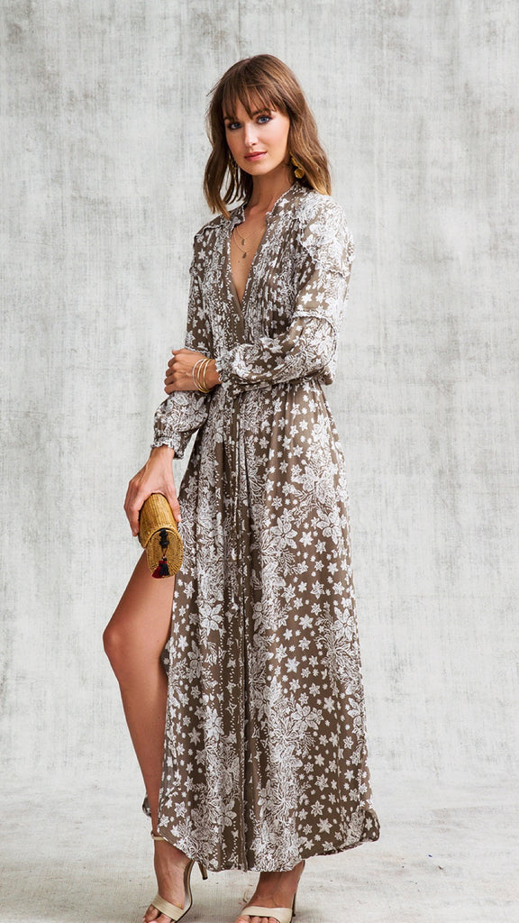 Long Dress Tunic Ilona Long Sleeve Grey Butterfly Batik Vertical
