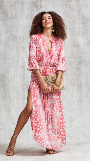 LONG DRESS TUNIC ILONA LONG SLEEVE - PINK BUTTERFLY BATIK VERTICAL