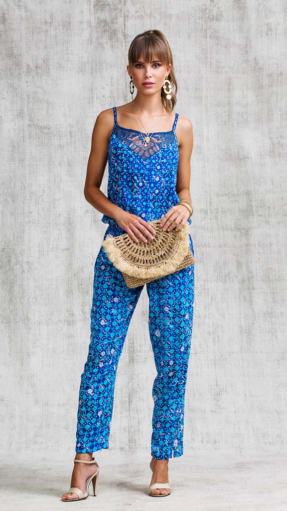 LONG JUMPSUIT HEIDI BRODERIE - BLUE FLOWER BATIK