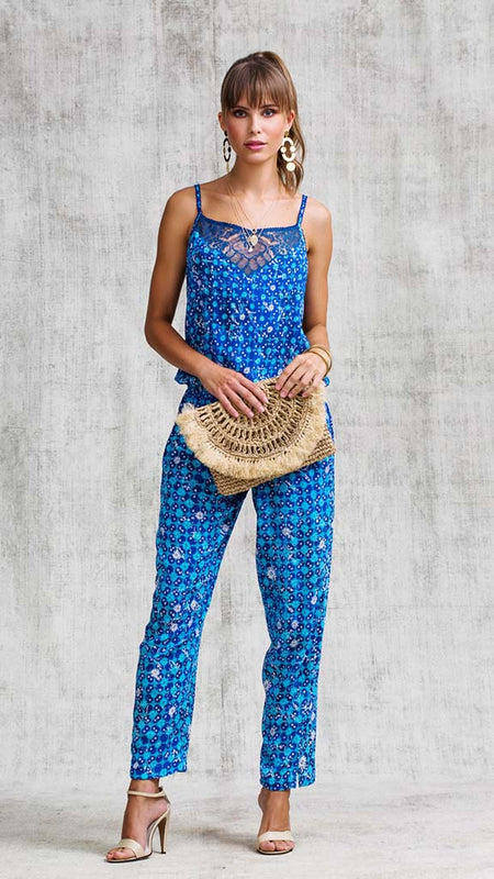 SHORT JUMPSUIT OLA V NECK - BLUE EDEN