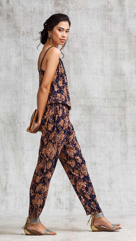 LONG JUMPSUIT HEIDI BRODERIE - NAVY DREAM