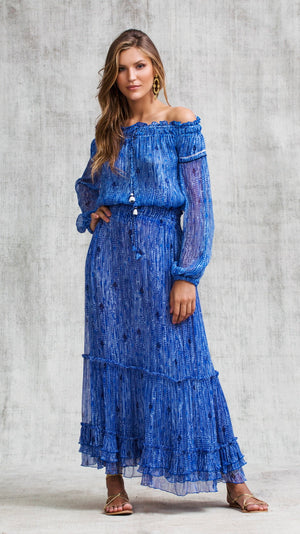LONG SKIRT CLARA RUFFLED - BLUE FANCIFUL