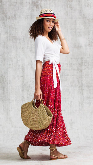 LONG SKIRT FOE PANELLED - RED MOON