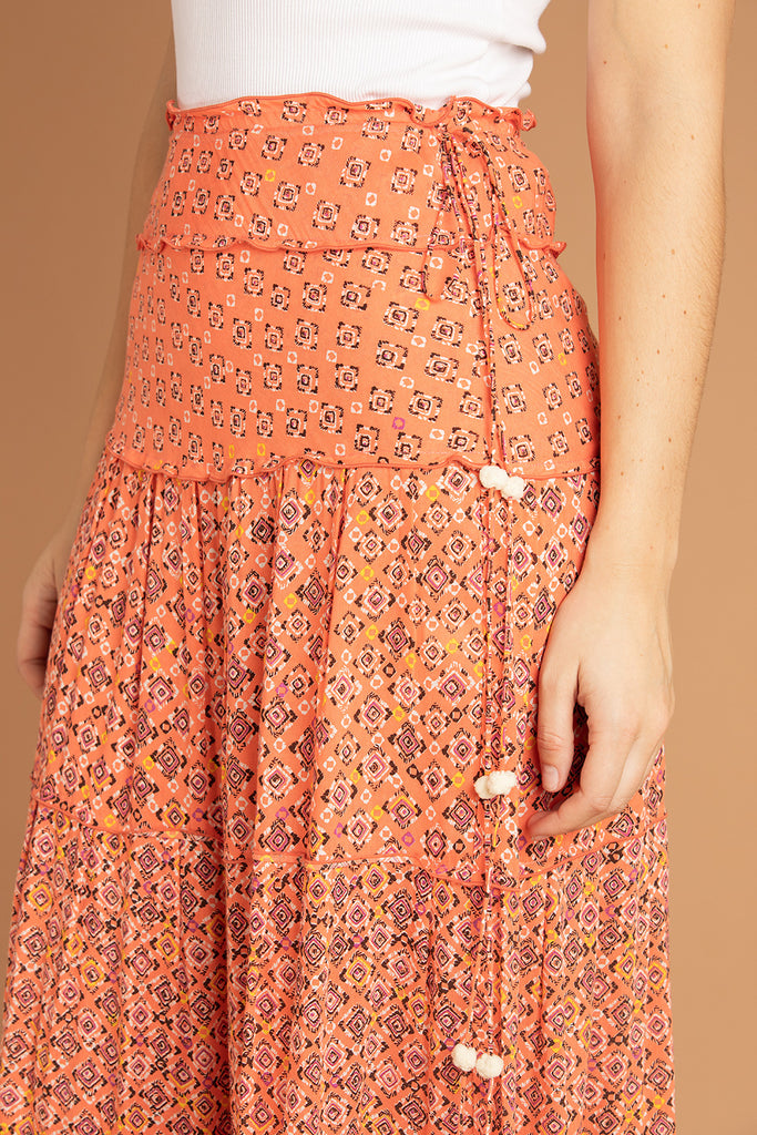 Long Skirt Sylvia Panelled - Orange Mirror