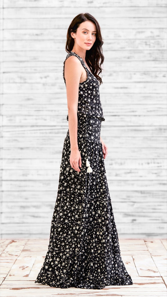 LONG DRESS BETY - BLACK TASSEL