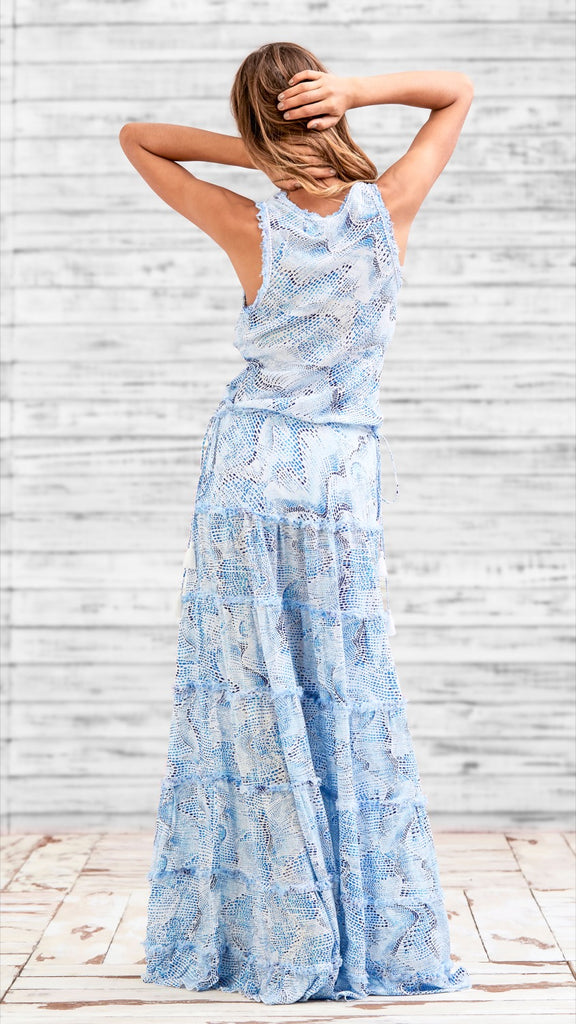 LONG DRESS BETY - BLUE WAVE