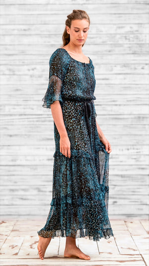 LONG DRESS CALINE - BLACK AQUA FISH BATIK VERTICAL