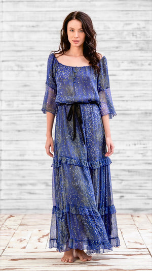 LONG DRESS CALINE - BLUE GREEN FISH BATIK VERTICAL