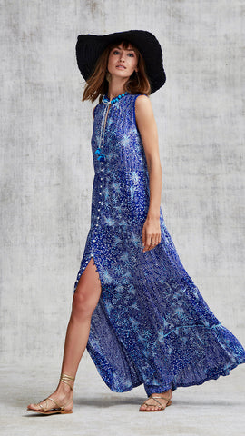 LONG DRESS CLARA SLEEVELESS - BLUE GEO BATIK VERTICAL