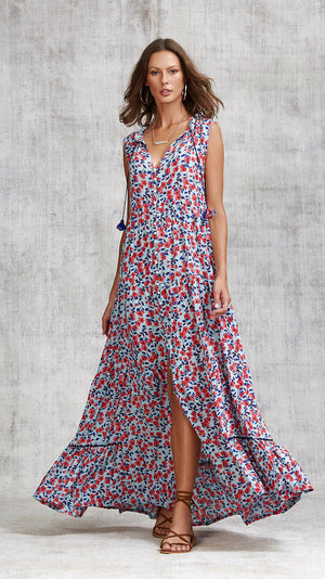 LONG DRESS CLARA SLEEVELESS - BLUE EDEN