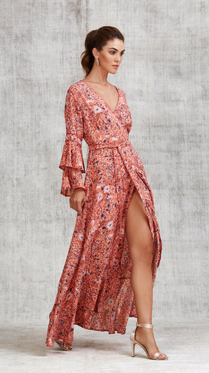 LONG DRESS ELISE LAYERED - ORANGE CAMELIA