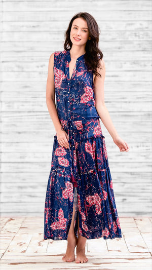 LONG DRESS ELODIE - BLUE MARBLE