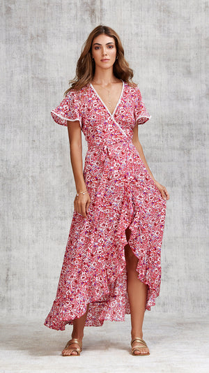 LONG DRESS JOE RUFFLED - PINK AZALEA