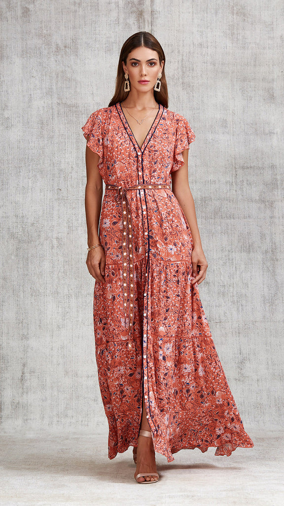 LONG DRESS OLA PANELLED - ORANGE CAMELIA