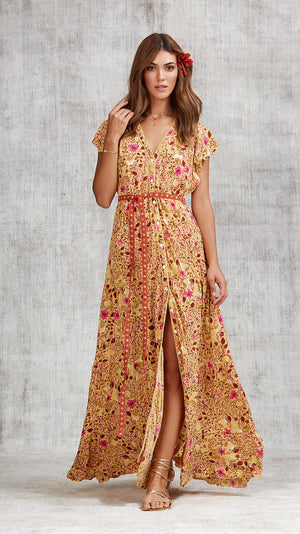 LONG DRESS OLA PANELLED - YELLOW CAMELIA