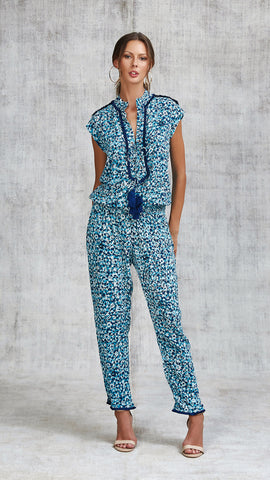 LONG JUMPSUIT DONNA LACE TRIMMED - BLUE FANTASY
