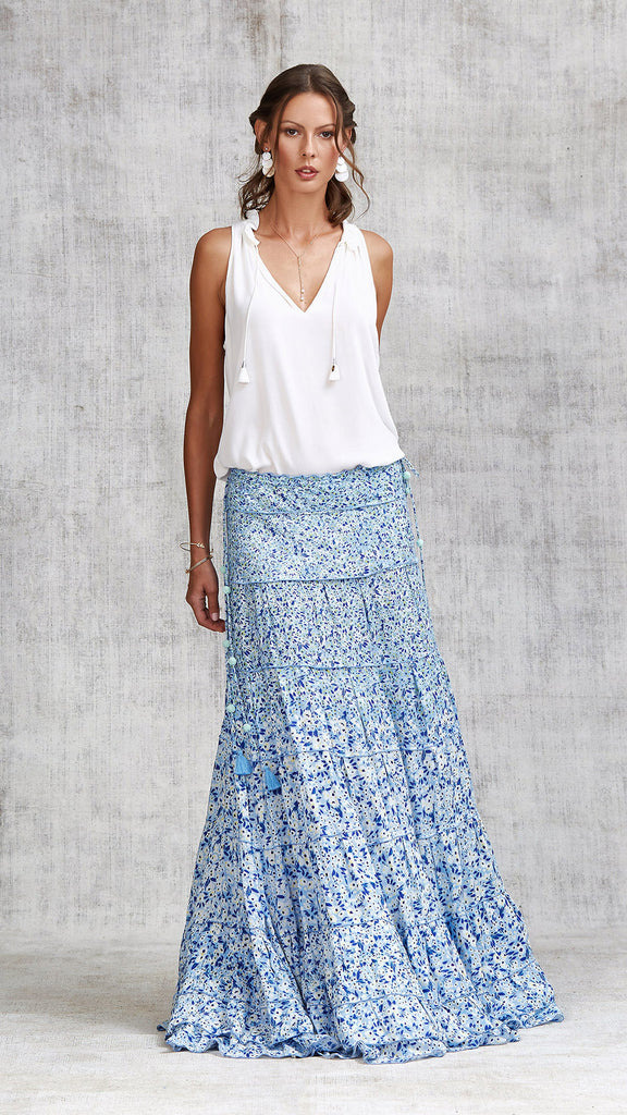 LONG SKIRT GOTA PANELLED - BLUE ICY LIBERTY