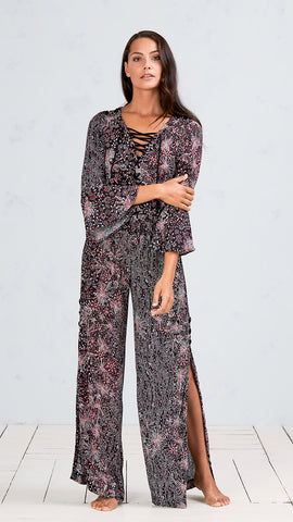 LONG JUMPSUIT LUCY - BLACK PINK GEO BATIK VERTICAL