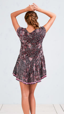 MINI DRESS LUCY - BLACK PINK GEO BATIK VERTICAL