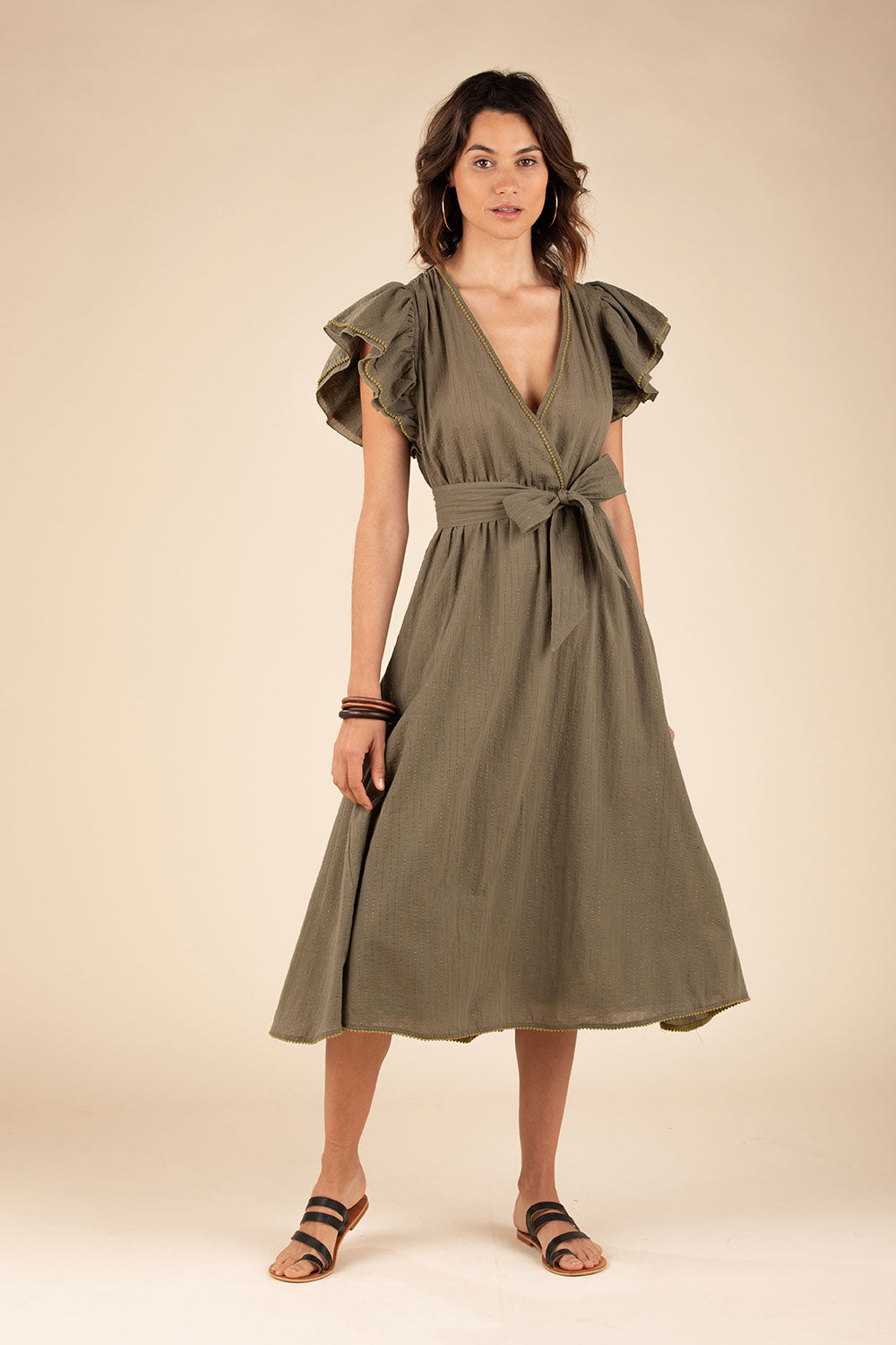 Midi Dress Kimi Ruffled - Green