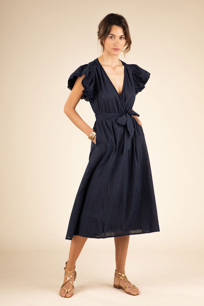 Midi Dress Kimi Ruffled - Navy