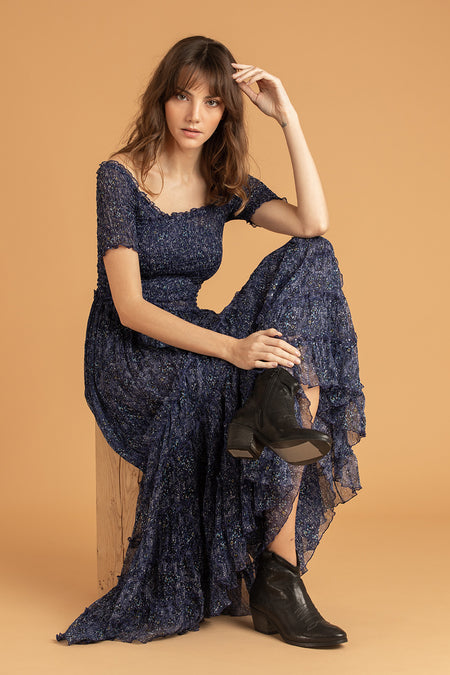 Long Dress Mya Ruffled - Blue Leo