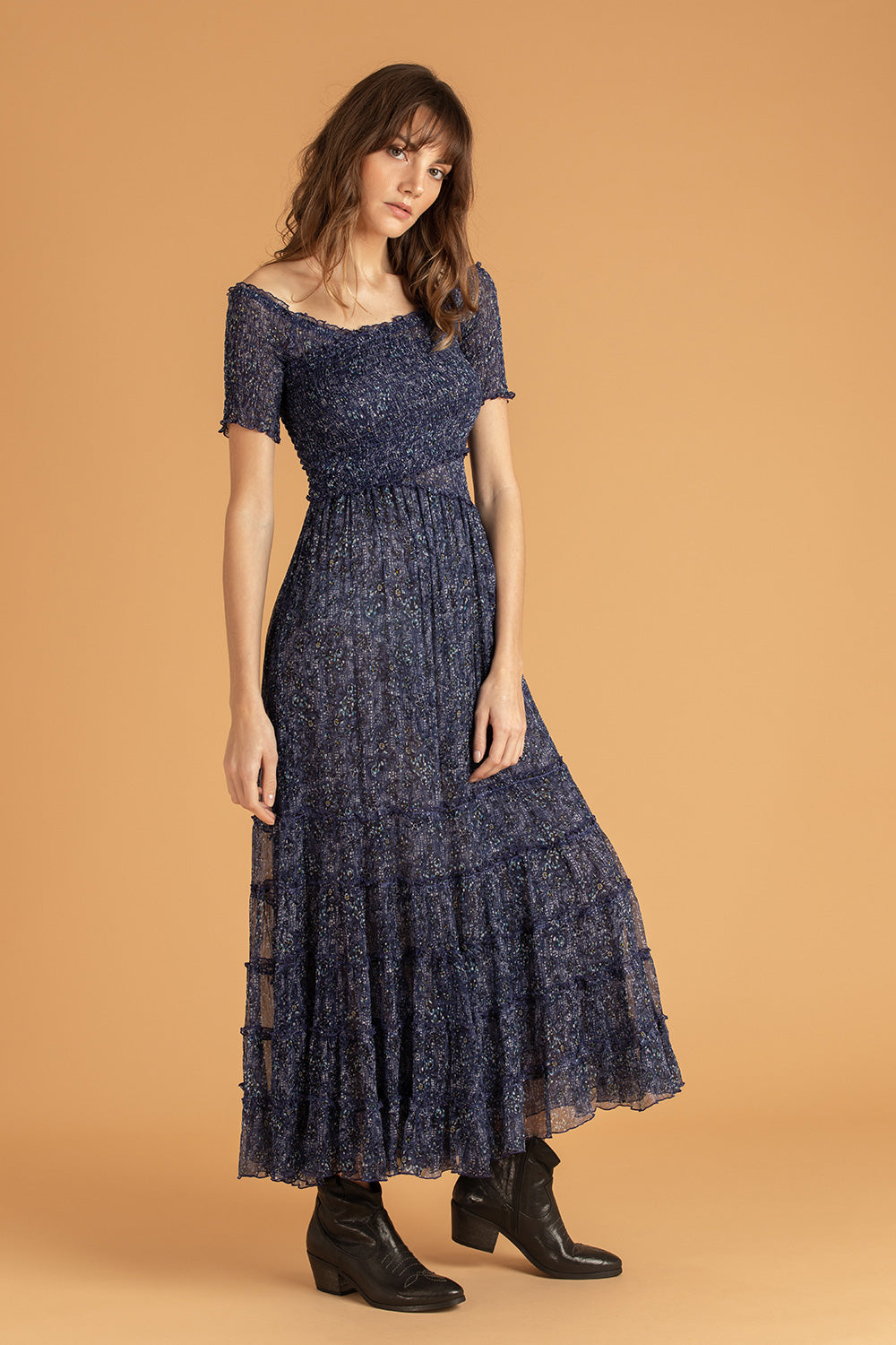 Midi Dress Soledad Off Shoulder - Blue Amarylis
