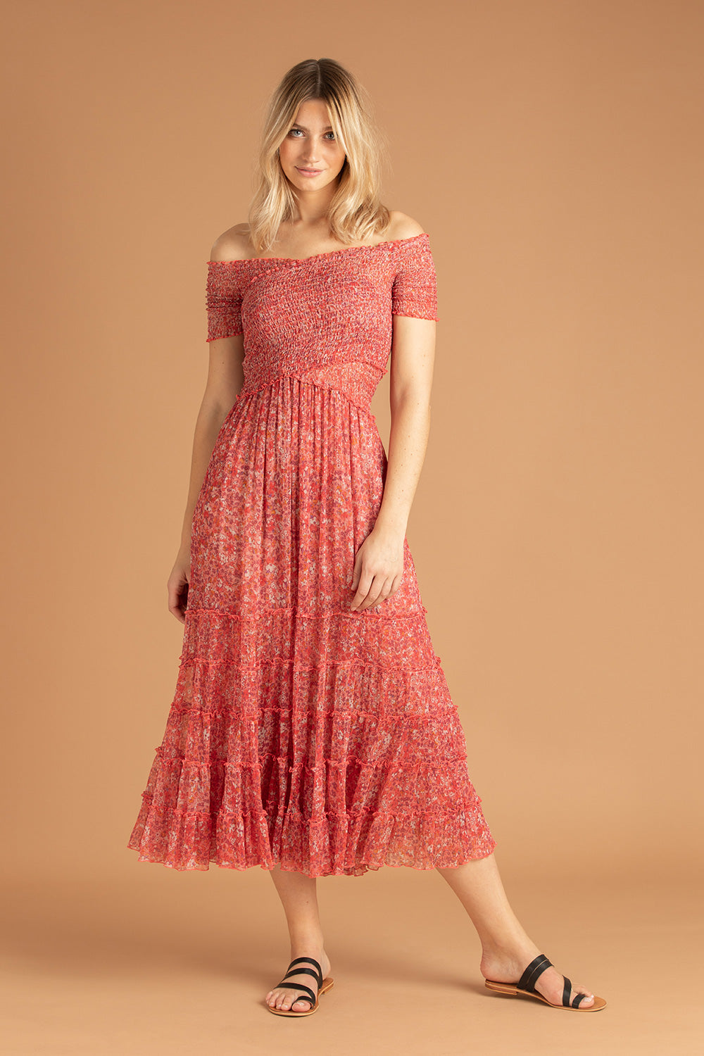 Midi Dress Soledad Off Shoulder - Pink Glory