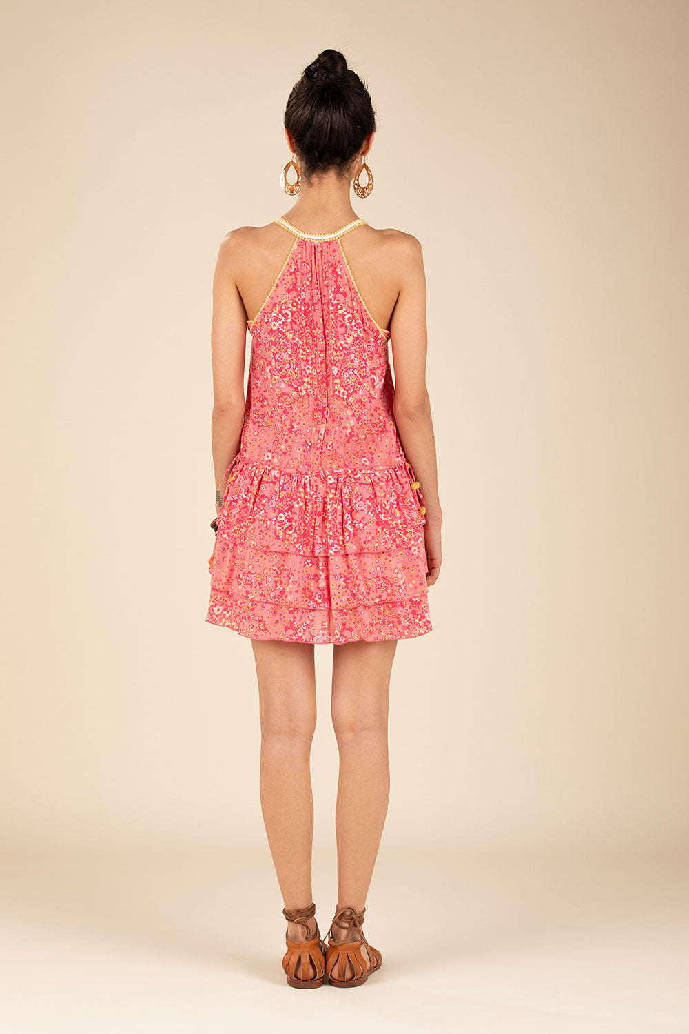 Mini Dress Bety Ruffled - Pink Paisley