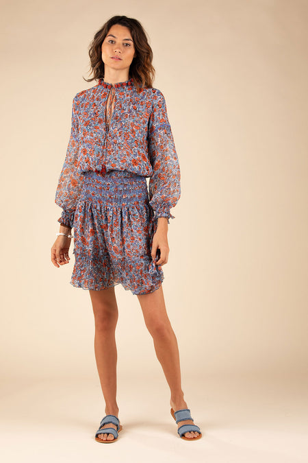 Top Blouse Clara Lace Trimmed - Blue Bloom