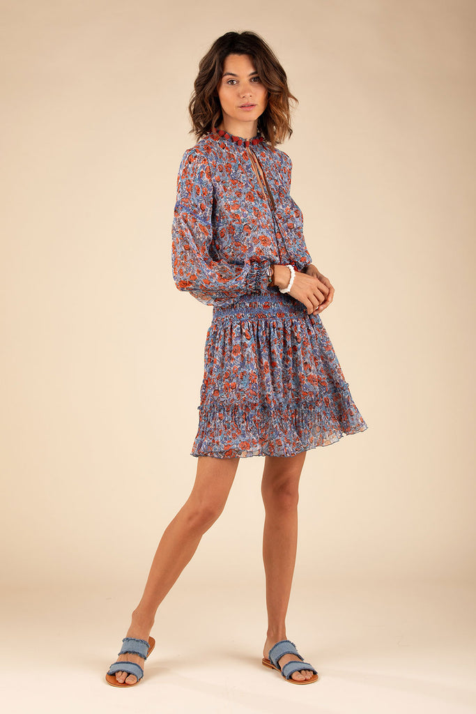 Mini Dress Clara Flounce - Blue Rose