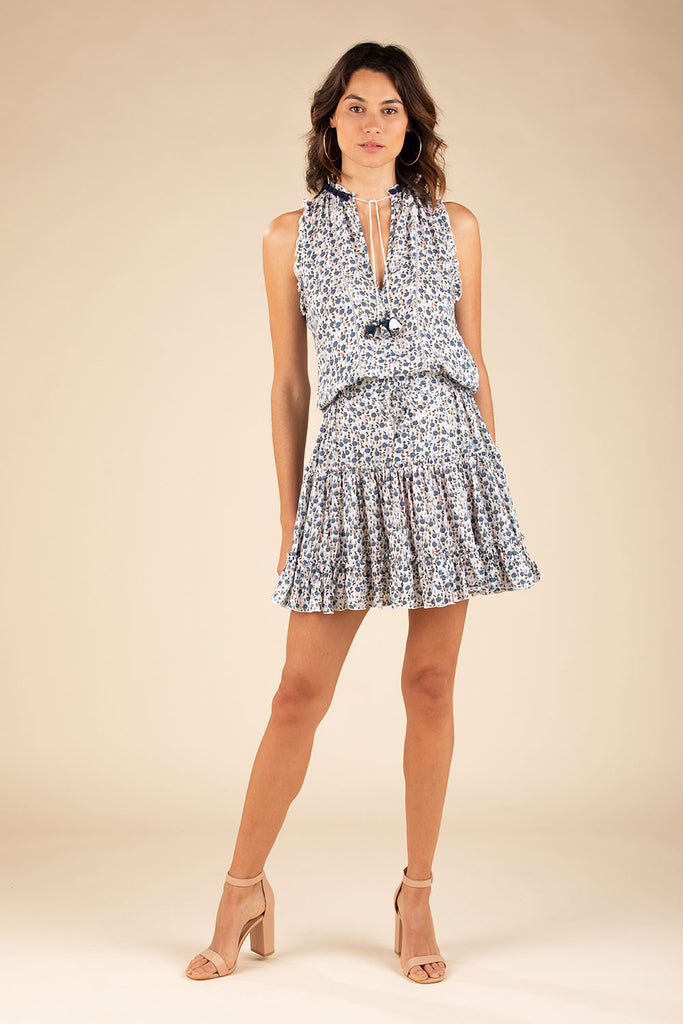 Mini Dress Clara Ruffled - White Blue Bell