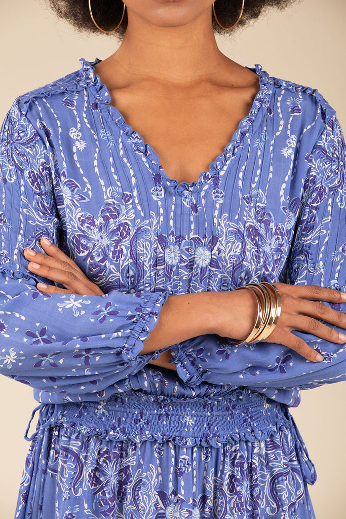 Mini Dress Ilona Long Sleeve - Blue Pineapple Batik Rombo