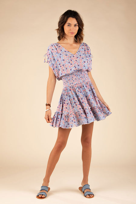 Mini Dress Bonnie Smocked - Blue Bell