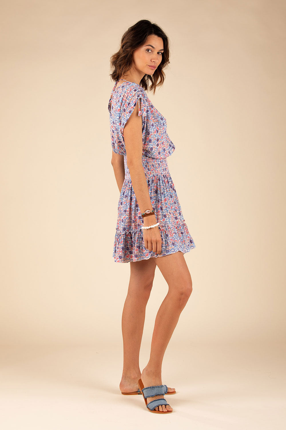 Mini Dress Jena Ruffled - Blue Bloom